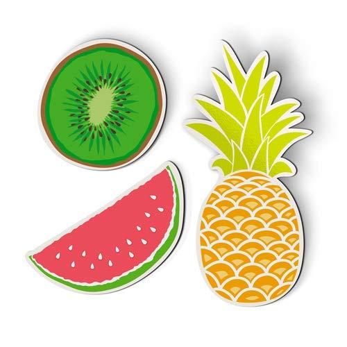 VinMea AK Muur Kunstfruit Set van 3 Ananas Watermeloen Kiwi Sappig - Magneten - Auto Koelkast Locker - 6 Inch