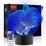 Lámpara de mesilla de noche con luces LED 3D Hexie, iluminación de 16 colores cambiante con botón táctil, regalo creativo, decoración ideal (cerdo)