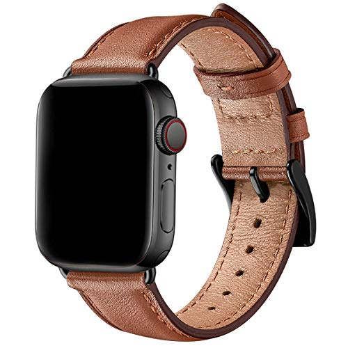 SUNFWR Correa para Correa Apple Watch 44mm 40mm 42mm 38mm,Correa de Repuesto de Cuero para Hombres Mujer Compatible con la Serie iWatch SE/6/5/4/3/2/1 (38mm 40mm, Marrón/Negro)