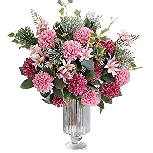LA.PONEE Fake Hydrangeas Flowers – Bouquets of Artificial Flowers for Wedding Decoration, Silk Flowers with Stems, Floral Centerpieces for Tables, Faux Spring Floral Arrangements (2 Pack – Pink)