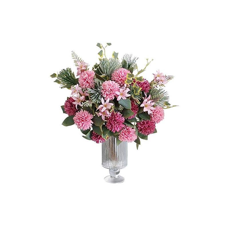 silk flower arrangements la.ponee fake hydrangeas flowers - bouquets of artificial flowers for wedding decoration, silk flowers with stems, floral centerpieces for tables, faux spring floral arrangements (2 pack - pink)