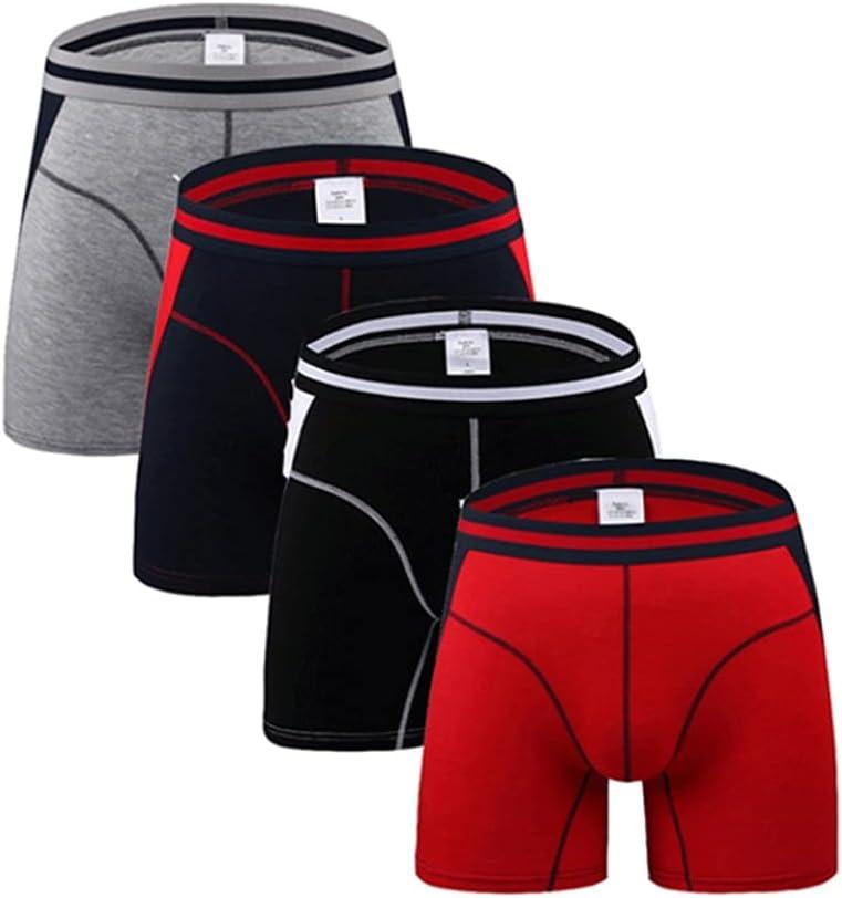 SSMDYLYM 4Pcs/Long Leg Mens Boxers Shorts Male Panties Slip Underpants U-Convex Underwear (Color : Multicolor 2, Size : XL Code)