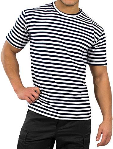 normani Russisches Marine T-Shirt Rundhals S-XXXL Farbe Weiß/Blau-Shirt Größe S