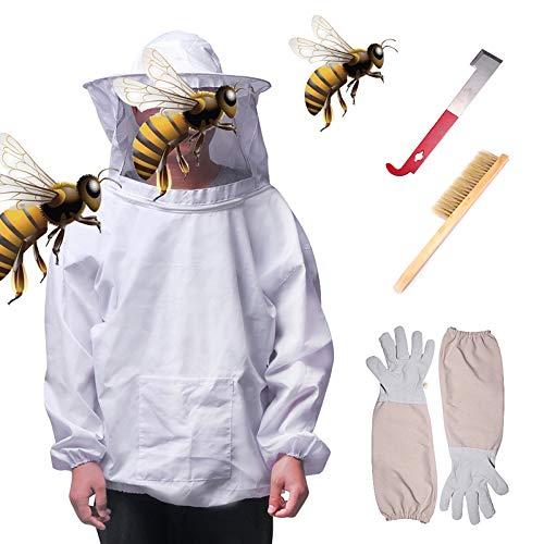 CPPK bijenteelt bijenpak jas en sluier met handschoenen, bijenkorf gereedschap en bijenkorf borstel J Hook Hive Tool Set (Extra groot)