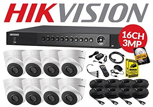 5MP HDTVI CCTV Kit 16CH Hikvision ds-7216huhi-k2& 8x ds-2ce56h1t-it3Cámaras domo 2,8mm lente 40m IR (30m Cables)