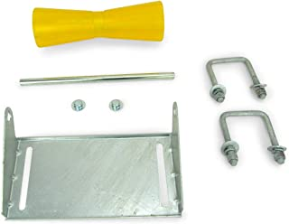 Sturdy Built 12 inch Yellow Poly Vinyl Boat Trailer Keel Roller and Bracket Kit for 3x3 Cross Members
