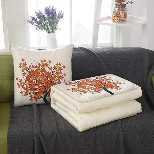 XIAOZHANG Kussen Blanket dubbel gebruiksdoel grote boom met rode bladeren multifunctionele kussens deken dual use Office middagpauze deken voor autosofa plafond