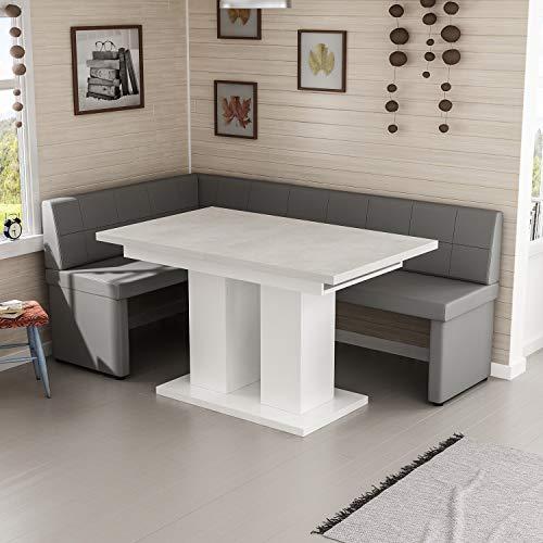 Reboz hoekbankgroep grijs hoekbank en eettafel 128 x 168 cm in vele kleuren 128 x 168 cm links Beton Optik Grau