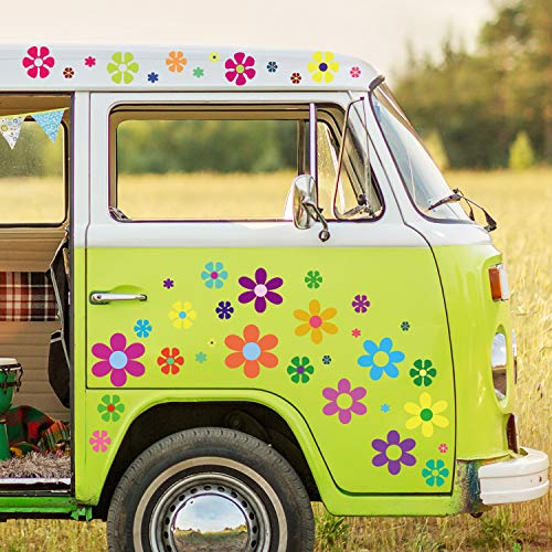 96 Pieces Car Flowers Stickers Multicolored Daisy Stickers Decals Retro Flowers Vinyl Stickers Colorful Hippie Decals Flower Window Clings for Window Laptop Car Decoration