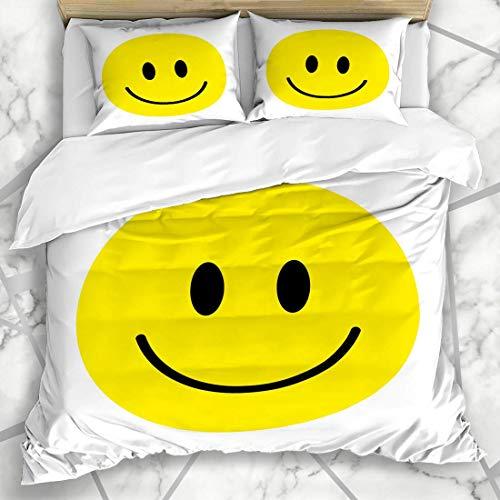 Soefipok Conjuntos de Funda nórdica Humano Sonrisa Amarilla Carita Feliz Felicidad Emoji Emoticon Diseño de Risa Redondo Ropa de Microfibra con 2 Fundas de Almohada