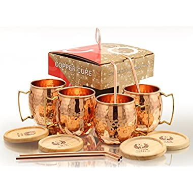 Copper Moscow Mule Mugs With FREE Copper Straws & Coasters - 16 Oz Moscow Mule Copper Mugs – 100% Solid Copper Hammered Mug - Set of 4 (GIFT SET) Copper Cups for Moscow Mule by Copper Cure