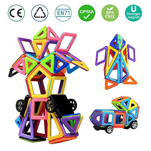 infinitoo Magnetische Bausteine 76tlg Magnetic Bauklötze Konstruktion Blöcke | Tolles Lernspielzeug für Kinder ab 3 Jahre | Perfekt für Einsatz zu Hause in Kindertagesstaetten etc