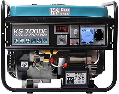 Könner & Söhnen KS 7000E Stromerzeuger, 13 PS 4-Takt Benzinmotor, E-Start, 5500 Watt, 1x16A (230V), 1x32A (230V) Generator, Automatischer Spannungsregler, Anzeige, für Haus, Garage oder Werkstatt