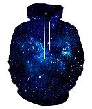 Kayolece Space Hoodies for Men Women 3D Unisex Graphic Blue Hooded Sweater Sweatshirts Size XL