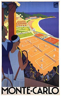 iSi Vintage Monte Carlo France Resort Tennis Poster Broders by Roger Broders