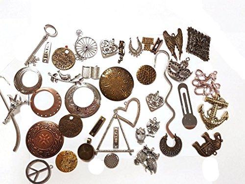 Perlin Metall Anhänger Lesezeichen Bastlerbedarf Mix 500g Medaillons Große Metallperlen für Halskette Charm Mischung Bunt von Vintageparts, DIY-Schmuck Ketten F1