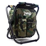 Zology Folding Camping Chair Stool Backpack with Cooler Insulated Picnic Bag, Camouflage Portable