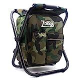 Zology Tabouret Chaise de camping pliant Sac à dos avec refroidisseur Sac de...