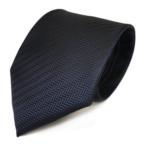 TigerTie Designer Krawatte in dunkelblau marine gestreift