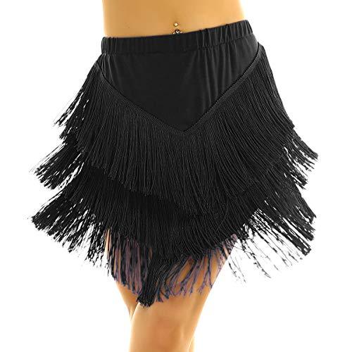 ranrann Falda de Baile Latino Flecos para Mujer Vestido de Tango Rumba Salsa Cintura Elástica Asimétrico Vestido Baile de Salón con Shorts Dancewear Negro Small