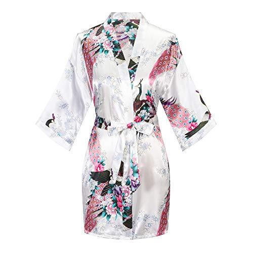 Kurzer Kimono-Bademantel für Damen, Satin, Blumenmuster, Bademantel für Braut, Brautjungfer, Hochzeit, Brautparty - Weiß - Large