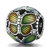 ZiFouDou Abalorio para Pulsera Pandora&Chamilia,Dijes De Plata De Ley 925,Originales Bead Charm para Collare- Mariposa De Fantasía