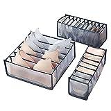 UFLF 3pcs Organizador Ropa Interior Cajones Caja Organización Sujetadores Plegable de Tela Caja Almacenaje para Armario Sostenes Calcetínes Corbata Braga Bufanda Pañuelo-Grueso