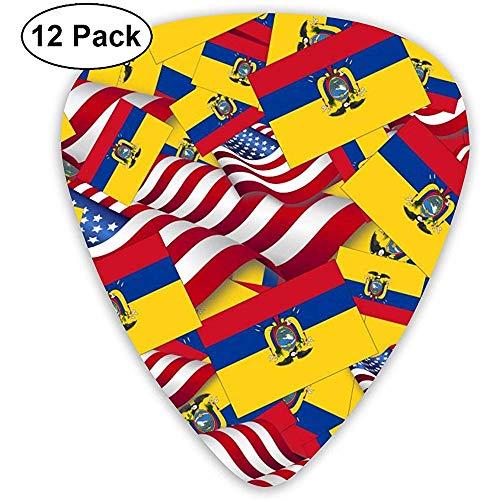Ecuador Flag With America Flag 12 Pack Púas de guitarra, guitarras eléctricas y acústicas