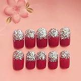 LHHYY uñas 24 unids/set de uñas postizas de tamaño corto de Color rojo para mujer, herramientas de arte de uñas a lamoda,puntas de uñas para fiesta de boda y novia con