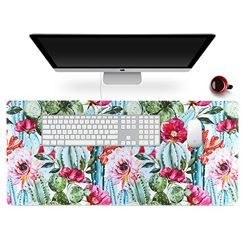 Anyshock Desk Mat, Extended Gaming Mouse Pad 35.4' x 15.7' XXL Keyboard Laptop Mousepad with Stitched Edges Non Slip Base, Water-Resistant Computer Desk Pad for Office and Home (Cactus)