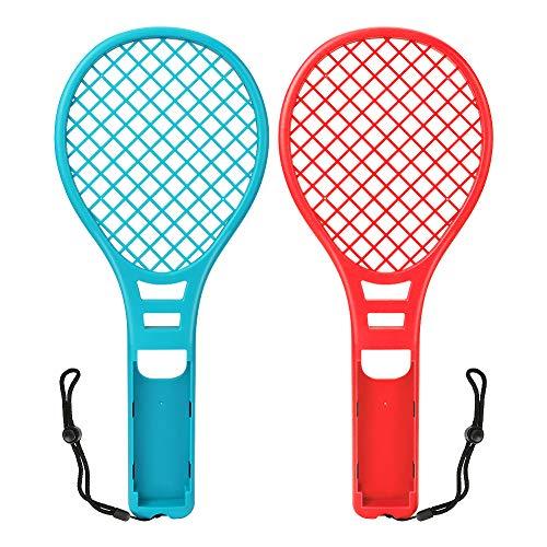 Yideng 2pzs Raqueta de Tenis para Nintendo Switch Joy-con Controladores, Accesorios Puños para Juegos Somatosensoriales de Nintendo Switch, Raqueta de Tenisl para Mario Tennis Aces, rojo y azul