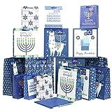 Iconikal Hanukkah Gift Bag Set, 16 Bags 3 Sizes, 32 Sheets of Tissue Paper
