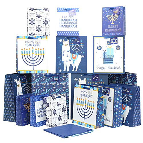 Iconikal Hanukkah Gift Bag Set, 16 Bags 3 Sizes, 32 Sheets of Tissue Paper