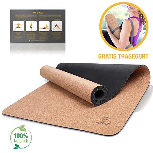 High Pulse Yogamatte aus Kork und Kautschuk + Tragegurt | 100{f352ef8b387a0b45ea0eaa36bf8bf825c0cd516b0aa9158612921852974097f2} natürlich, nachhaltig und biologisch abbaubar – Rutschfeste Trainingsmatte für Anfänger und erfahrene Yogis für Yoga, Pilates und Fitness