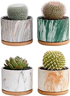Set of 4 Modern Style Marbling Ceramic Flower Pot Succulent Cactus Bonsai Planter Pots Marbling Container