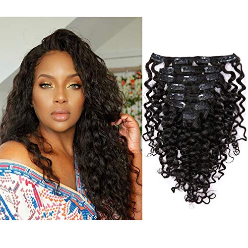 Lacer-Kinky Water Wave Clip in Remy Human Hair Extension, Black