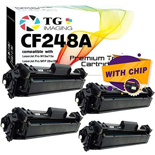 (4 Black Value Pack) TG Imaging Compatible CF248A 48A Toner Cartridge 248A Used for HP Laserjet Pro MFP M28w M29w M28a M29a M15w M16a M15a M16w Printer
