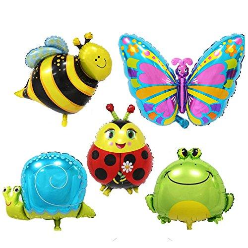 Miya 5er Set super Süß Insekt Tierchen Luftballon, Schmettering, Marienkäfer, Schnecke, Biene, Frosch Folienballon,
