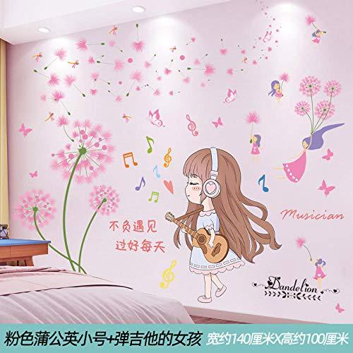 Dekorative Mädchen Raumaufteilung Aufkleber Hintergrund Wandaufkleber Tapete selbstklebende 3D Stereo-Pink Löwenzahn Trompete + Mädchen spielt Gitarre_Extra groß