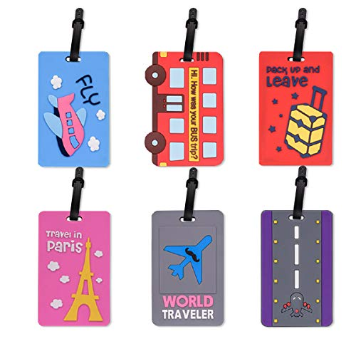 Hisredsun Luggage Tags 6 Packs Holiday Travel Baggage Handbag Tag or Smart Travellers-Best for Preventing Loss of Bags and Suitcases,Flexible Suitcase Labels, Travel Gifts (6pack)