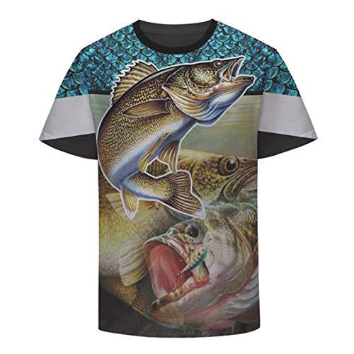 Camiseta,Arte Animales Carpa Pesca Juegos Hombres Personalidad Unisex Moda Primavera Y Verano Cómodo 3D Manga Corta Top Color Mixing M