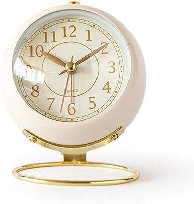 Saytay 置き時計 小型 小さい 卓上時計 レトロ アラーム 目覚まし時計 サイレント 静音 インテリア時計 電池式 バックライト ベッドルーム リビング (ホワイト)