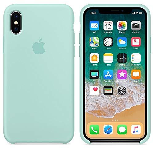 Coque pour iPhone XS,Coque Silicone Liquide avec Doux Microfibre Coussin Doublure Cover,Housse Etui de Protection Anti Choc Gel Case pour iPhone XS (iPhone XS, Vert Marin)