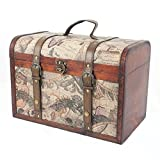 Luxury Vintage Style Wooden Storage Trunk Box with Globe design, Approx dimensions 39x27x23 cm - Gift idea <span class='highlight'>for</span> Christmas, Birthday, Toy Box, <span class='highlight'>Blanket</span> Box, Ottoman