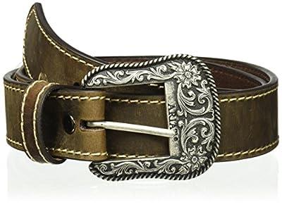 Ariat Women's Basic Stitch Edged Belt, brown, Small