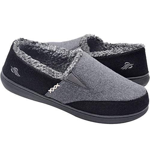 Zigzagger Mens Wool Micro Suede Moccasin Slippers House Shoes Home Indoor/Outdoor Footwear Black/Grey Size 12 US
