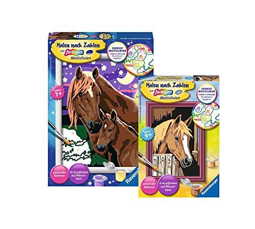 Ravensburger Malen nach Zahlen - Set: Pferde (27844) + Pferde im Stall (29685), Malset ab 7 Jahren
