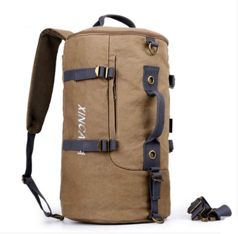 Rucksack Multifunktions-Herrenreisetasche Sport Student Zylinder Tasche Outdoor-Freizeit mit groer Kapazitt Leinwand