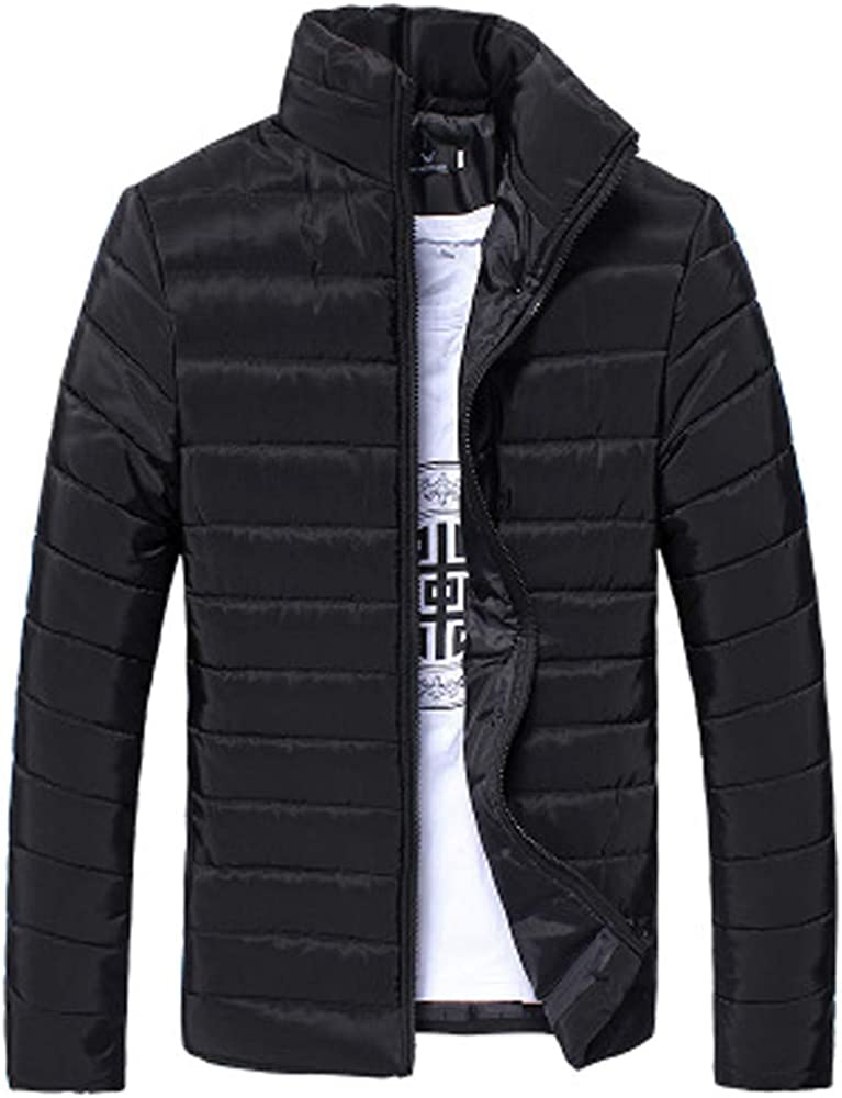 F_Gotal Men's Coat, Winter Stand Collar Solid Long Sleeve Full Zipper Warm Jacket Casual Outwear Tops