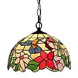 Odziezet Tiffany Lámpara Colgante con Pájaro Flores Hojas Lámpara de Techo Moda Sala Comedor Corredor Balcón